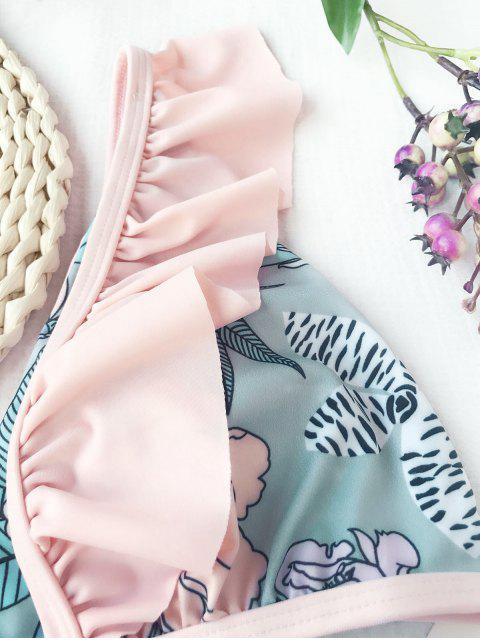 unique Ruffles Plunging Neck Flower Bikini - FLORAL M Mobile