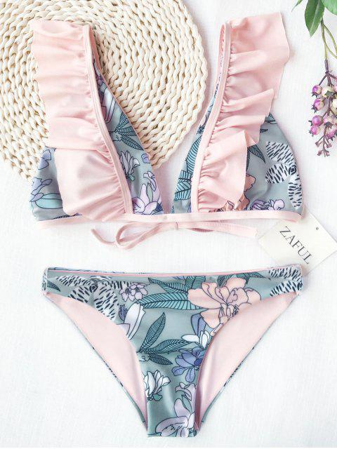 sale Ruffles Plunging Neck Flower Bikini - FLORAL S Mobile