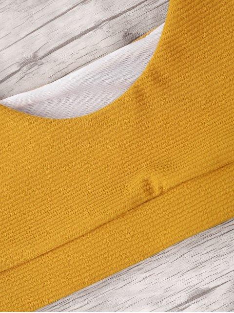 womens High Cut Textured Thong Bikini Set - YELLOW S Mobile