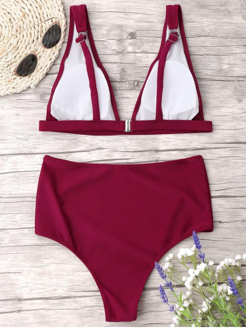 women High Waist Thong Bikini Set - WINE RED L Mobile