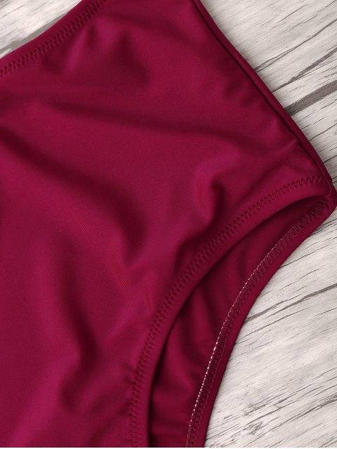 women's High Waist Thong Bikini Set - WINE RED M Mobile