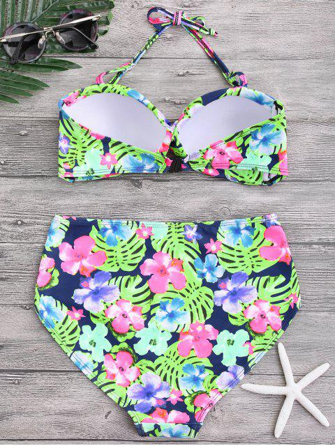 lady Floral Twist Push Up High Waisted Bikini - FLORAL L Mobile