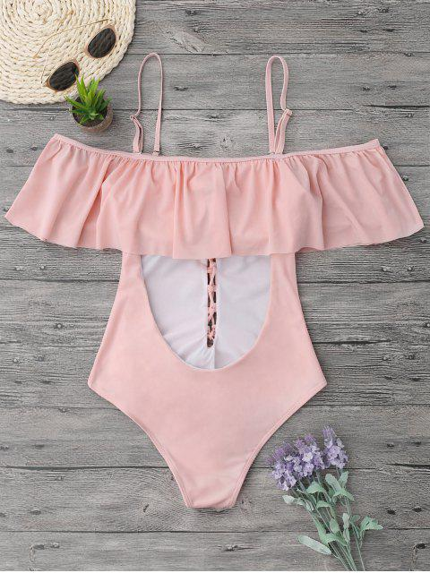 best Ruffles Lace Up Backless One Piece Swimwear - PINK L Mobile