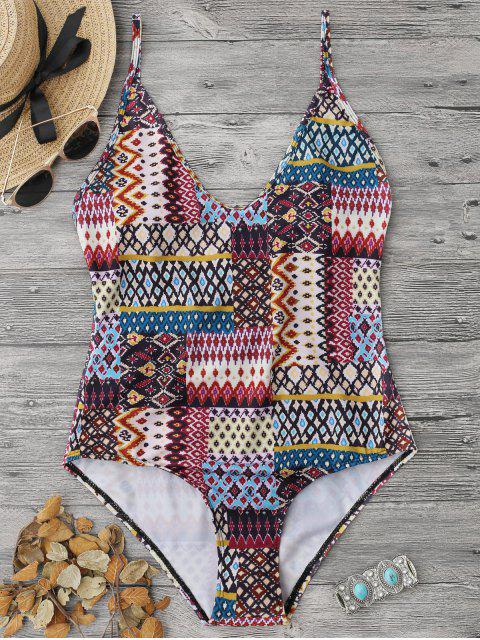 shop Tribe Print Cami One Piece Swimwear - COLORMIX S Mobile
