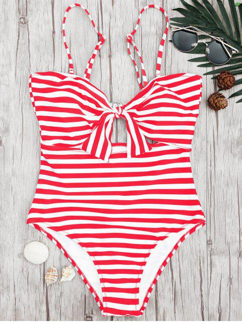 fashion Striped Knot Cut Out One Piece Swimsuit - RED WITH WHITE M Mobile