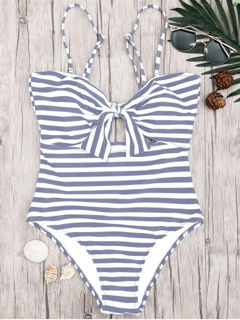 sale Striped Knot Cut Out One Piece Swimsuit - GREY AND WHITE M Mobile