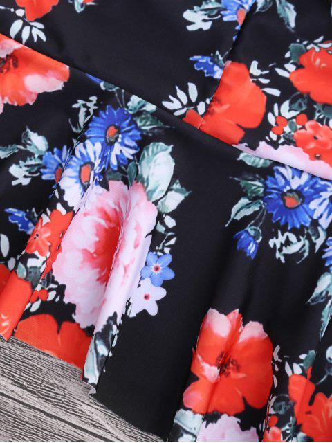 buy Floral Peplum High Waisted Tankini Set - BLACK L Mobile