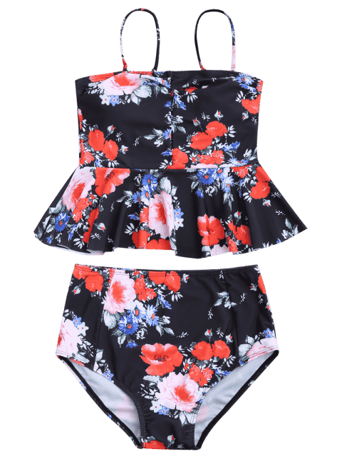 women Floral Peplum High Waisted Tankini Set - BLACK S Mobile