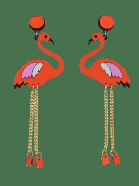 women's Wings Bird Chain Earrings - RED  Mobile