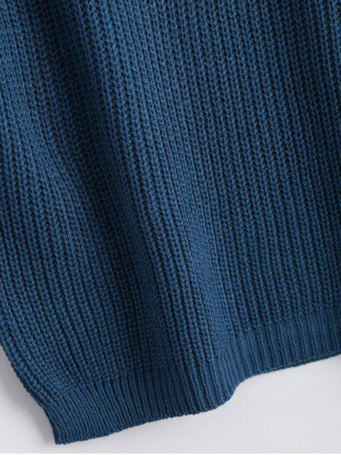 chic Loose V Neck Chunky Sweater - DEEP BLUE ONE SIZE Mobile