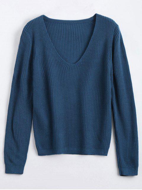 Suéter Chunky de cuello V suelto - Marina de Guerra Única Talla Mobile