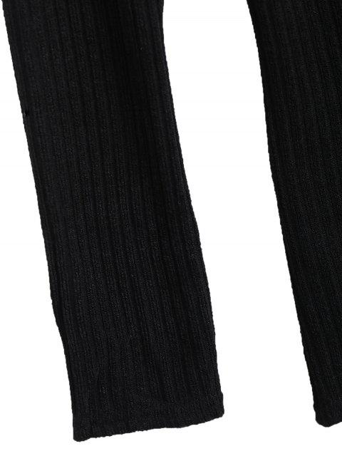 affordable Overlay Off Shoulder Knitwear - BLACK S Mobile