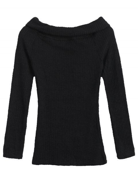 affordable Overlay Off Shoulder Knitwear - BLACK S Mobile
