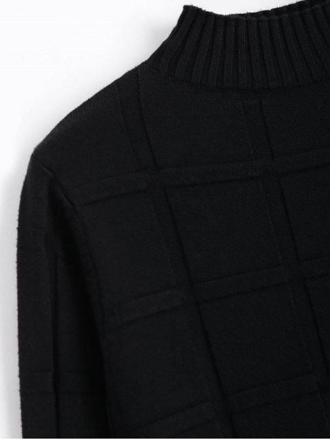 womens Square Mock Neck Sweater - BLACK ONE SIZE Mobile