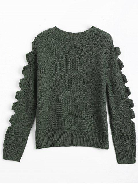 online Crew Neck Cutout Sleeve Sweater - ARMY GREEN ONE SIZE Mobile