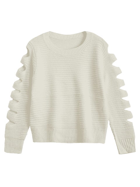 outfits Crew Neck Cutout Sleeve Sweater - WHITE ONE SIZE Mobile