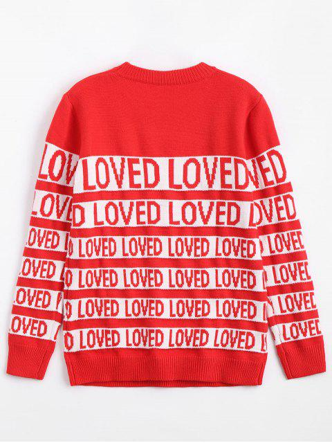 trendy Letter Contrasting Crew Neck Sweater - RED ONE SIZE Mobile