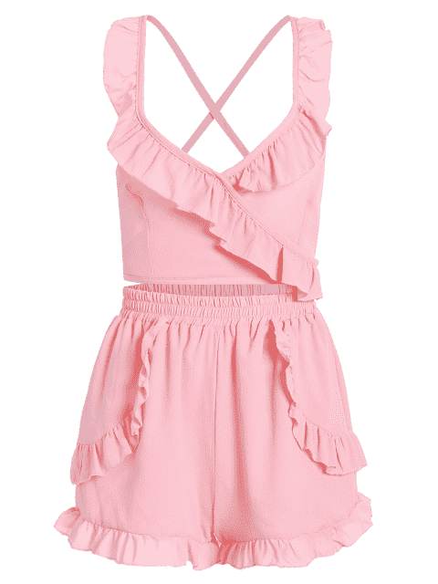 Criss Cross Ruffles Cropped Top et Beach Shorts - ROSE PÂLE TAILLE MOYENNE Mobile