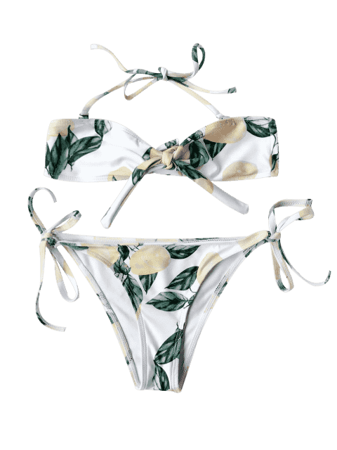 outfits Lemon Print Kids String Bikini - WHITE 5T Mobile