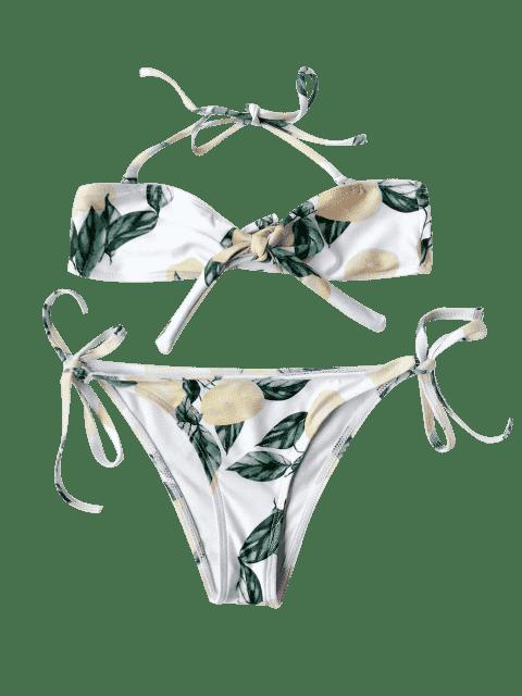 shops Lemon Print Kids String Bikini - WHITE 7T Mobile
