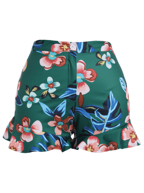 women's Ruffles Floral Plus Size Shorts - GREEN 2XL Mobile
