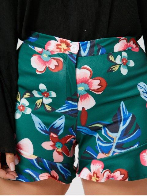 ladies Ruffles Floral Plus Size Shorts - GREEN 3XL Mobile