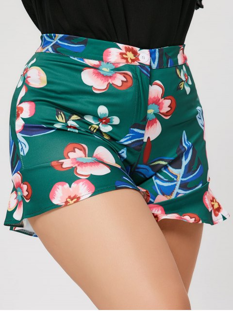 Ruffles Floral Plus Size Shorts - Vert 5XL Mobile