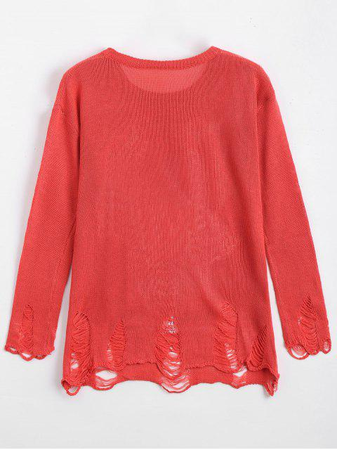 outfits Loose Lobster Graphic Ripped Sweater - RED XL Mobile