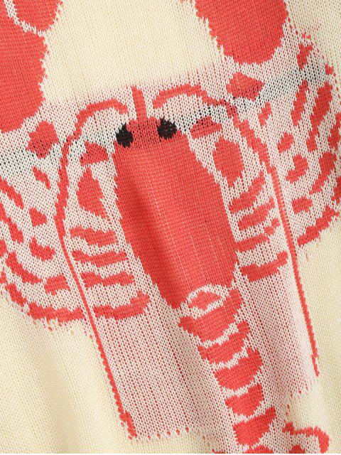 trendy Loose Lobster Graphic Ripped Sweater - OFF-WHITE S Mobile