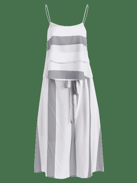 Layers Stripes Tank Top et Bowknot A Line Jupe - Gris et Blanc XL Mobile