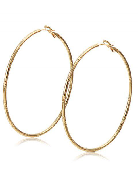 hot Alloy Engraved Hoop Earrings - CHAMPAGNE  Mobile