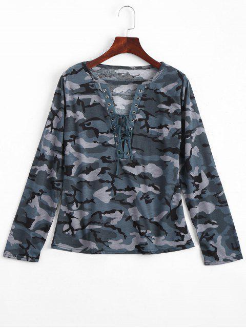 T-shirt Camouflage Cut Out à Laçages - Bleu Vert L Mobile