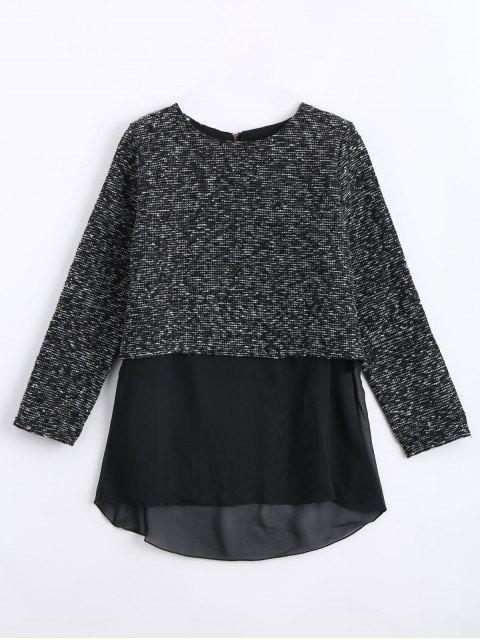 online Chiffon Panel Jacquard Blouse - BLACK XL Mobile