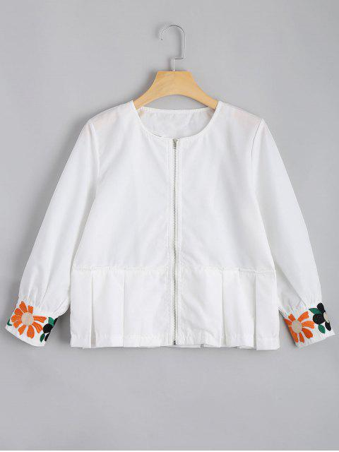 chic Zip Up Floral Patched Blouse - WHITE XL Mobile