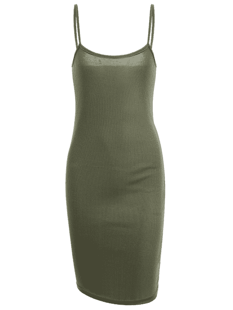 Slit Ribbed Bodycon Slip Dress - Vert Armée S Mobile