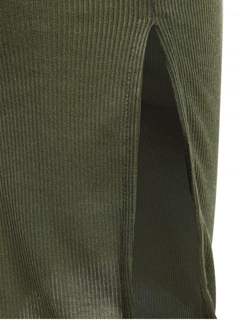 Slit Ribbed Bodycon Slip Dress - Vert Armée M Mobile