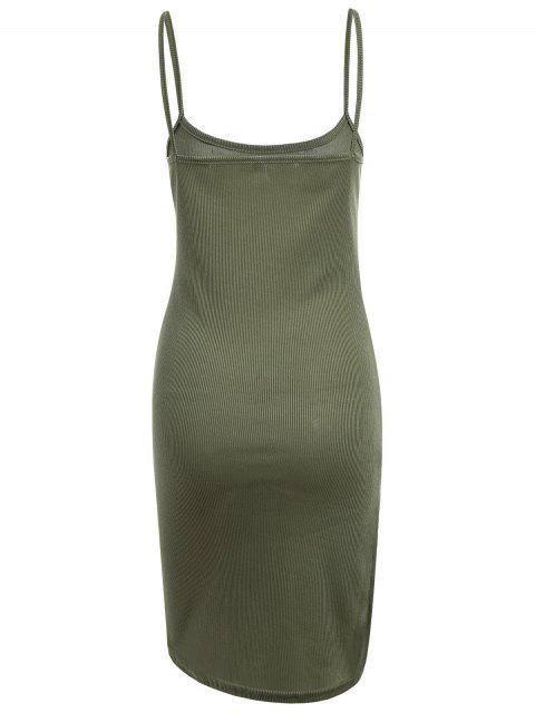 affordable Slit Ribbed Bodycon Slip Dress - ARMY GREEN XL Mobile