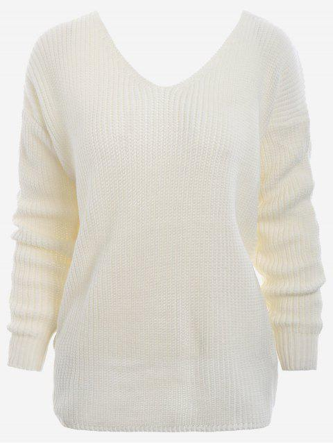 outfit Plunging Neck Twist Back Sweater - WHITE ONE SIZE Mobile