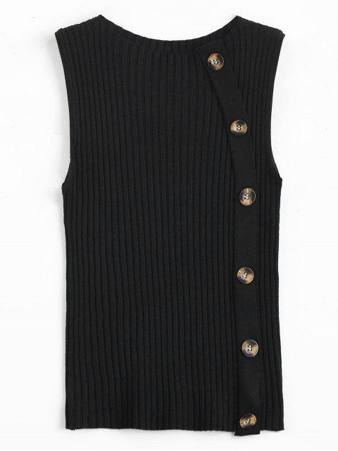women Side Buttoned Vest Ribbed Sweater - BLACK ONE SIZE Mobile