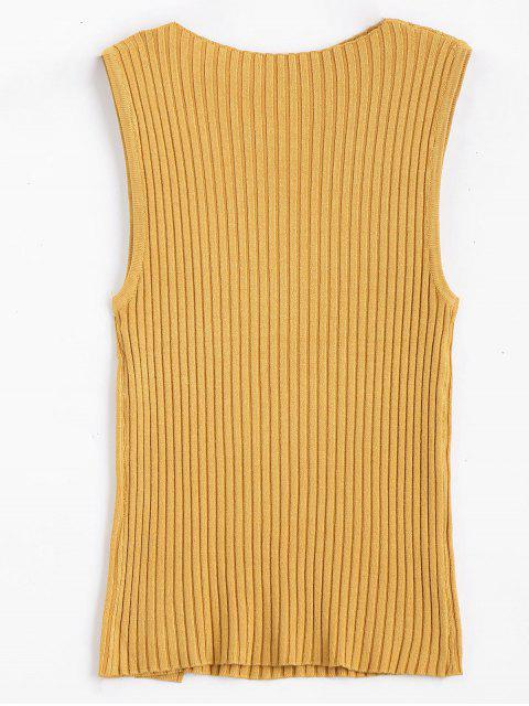 women's Side Buttoned Vest Ribbed Sweater - YELLOW ONE SIZE Mobile