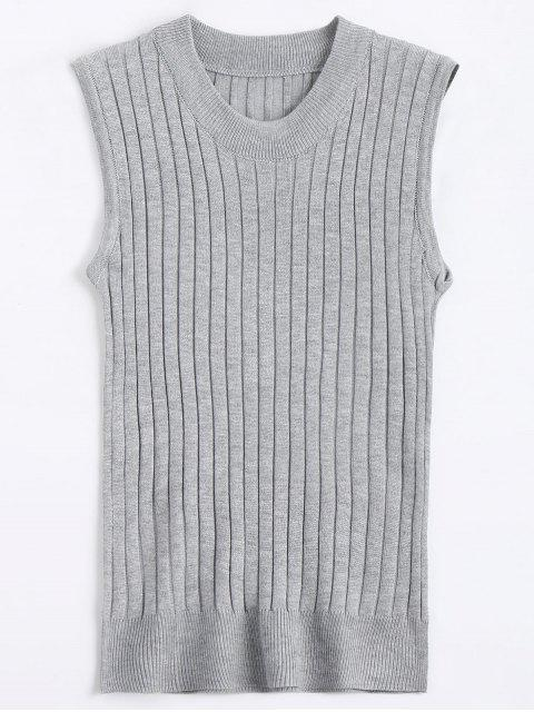 trendy Crew Neck Vest Sweater - GRAY ONE SIZE Mobile