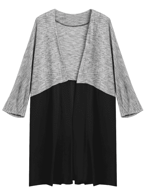 affordable Two Tone Open Front Cardigan - BLACK AND GREY XL Mobile