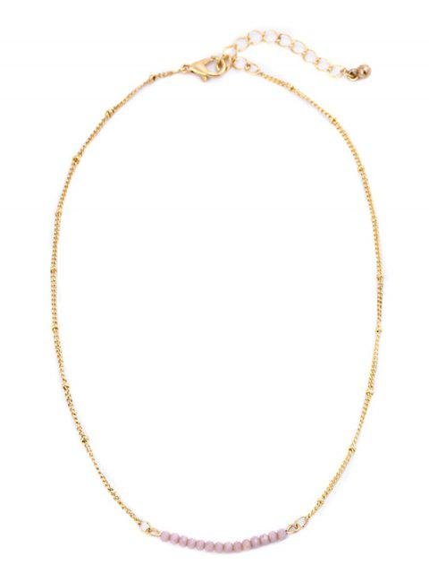fashion Beaded Chain Collarbone Necklace - PINK  Mobile
