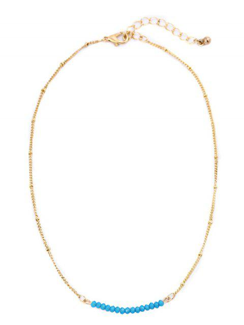 fancy Beaded Chain Collarbone Necklace - BLUE  Mobile