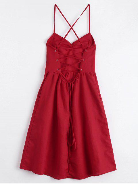 fancy Open Back Criss Cross Ruched Cami Dress - RED M Mobile