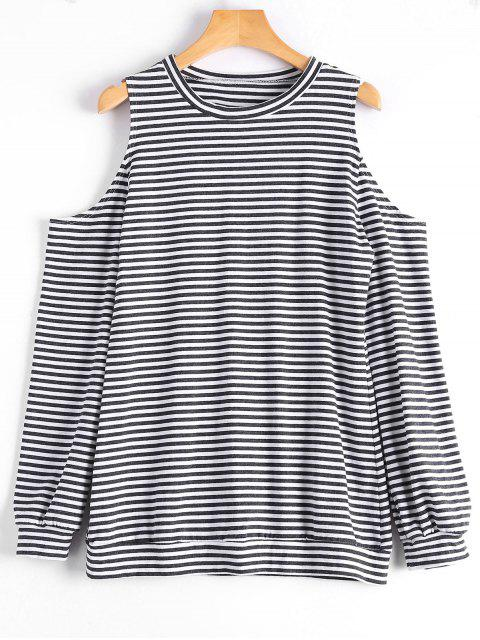 buy Cold Shoulder Long Sleeve Striped Tee - STRIPE M Mobile