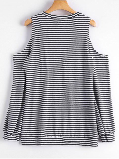 women Cold Shoulder Long Sleeve Striped Tee - STRIPE XL Mobile