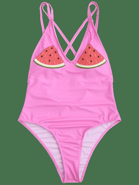 One Piece Watermelon High Cut Maillots de bain - ROSE PÂLE M Mobile