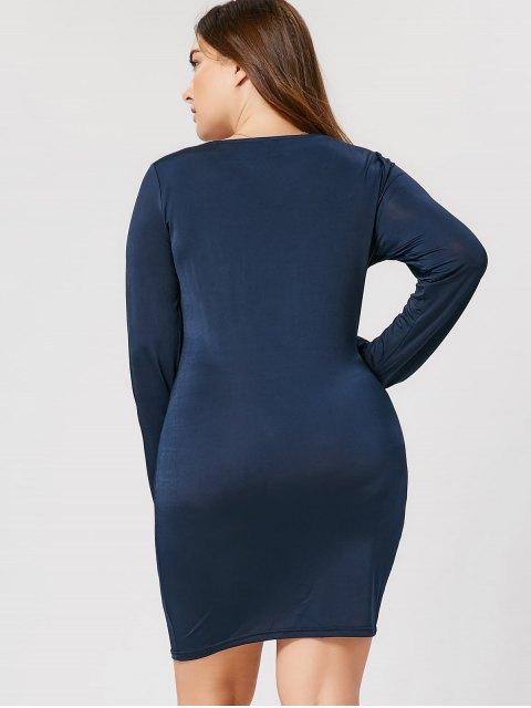 shop Plus Size Studded Bodycon Dress - PURPLISH BLUE 2XL Mobile