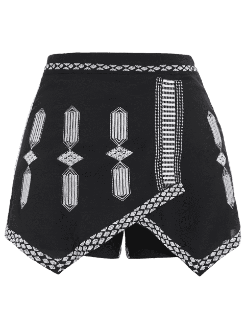best Embroidered Plus Size Skorts - BLACK 2XL Mobile